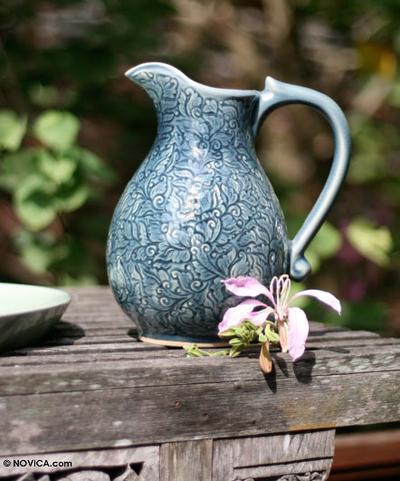 Celadon ceramic pitcher