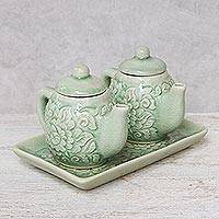 Celadon ceramic condiment set, 'Inseparable' - Thai Celadon Ceramic Condiment Set (Pair)