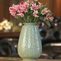 Celadon ceramic vase, 'Divine Profusion'