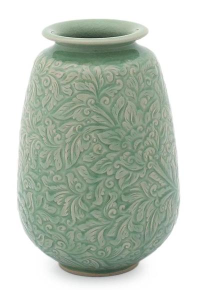 Celadon ceramic vase, 'Divine Profusion' - Celadon Ceramic Vase