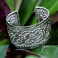Sterling silver cuff bracelet, 'Floral Release' - Handcrafted Floral Sterling Silver Cuff Bracelet