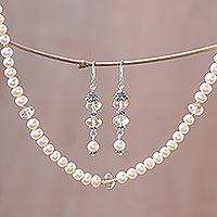 Pearl and citrine jewelry set, 'Pink Lemons'