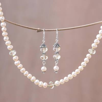 Pearl and citrine jewelry set, 'Pink Lemons' - Pearl Earrings and Necklace Jewelry Set