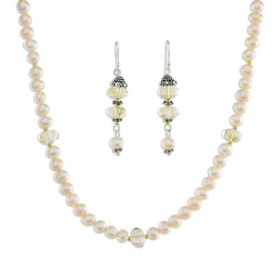 Pearl Earrings and Necklace Jewelry Set