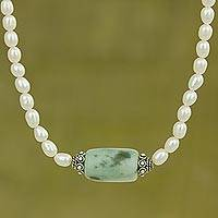 Pearl and jade pendant necklace, 'Touch of Life'