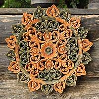 Teak relief panel, 'Illuminated Circle' - Teak relief panel