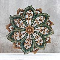 Teak relief panel, 'Spiral Flower' - Teak Relief Panel from Thailand