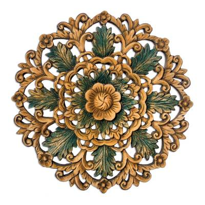 Handcrafted Floral Wood Relief Panel