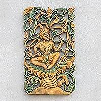 Teak relief panel, 'Dance in Jungle' - Hand Made Wood Relief Panel