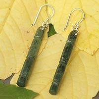 Jade dangle earrings, 'Spirit of Bamboo, Path to Enlightenment'