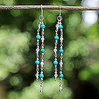 Rainbow moonstone waterfall earrings, 'Blue Rain'
