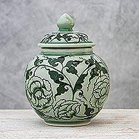Celadon ceramic jar, 'Blossom Kiss' - Celadon ceramic jar