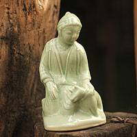 Celadon ceramic statuette, 'Mercy Karen' - Hand Made Celadon Ceramic Sculpture