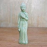 Celadon ceramic statuette, 'Beautiful Queen' - Celadon ceramic statuette
