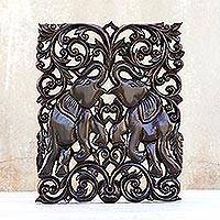 Teak relief panel, 'Elephantine Games' - Wood Elephant Relief Panel
