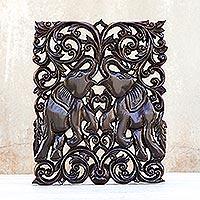 Teak relief panel, 'Elephantine Games' - Wood Elephant Relief Panel