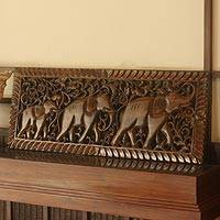 Teak relief panel, 'Strolling Elephants' - Wood Elephant Relief Panel from Thailand