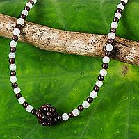 Garnet and rainbow moonstone pendant necklace, 'Lunar Sun' - Beaded Garnet Necklace