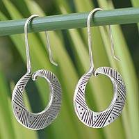 Silver dangle earrings, 'Tribal Feasts' - Handcrafted Hill Tribe Silver Hoop Earrings