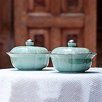 Celadon ceramic bowls with lids, 'Lotus Leaves' (pair)