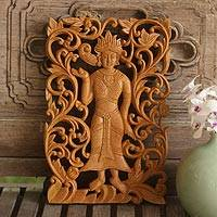 Teak relief panel, 'Angel Grace' - Teak relief panel