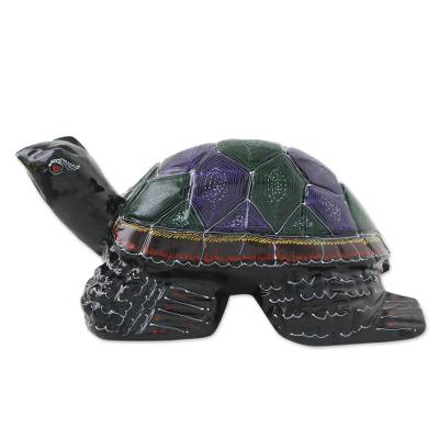 Lacquered wood statuette, 'Longevity Turtle' - Lacquered Mango Wood Sculpture