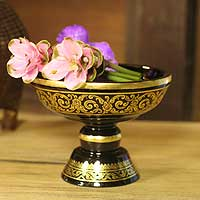Lacquered wood offering centerpiece, 'Spiritual Treasures' - Fair Trade Lacquered Wood Centerpiece