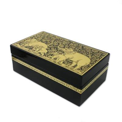Lacquered wood box, 'Golden Day Out' - Lacquered Mangr Wood Decorative Box