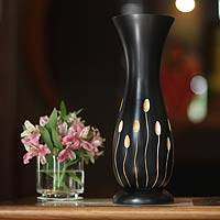 Mango wood vase, 'Grassy Meadow' - Mango Wood Vase