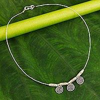 Silver choker, 'Secret Circle' - Silver Necklace with Circular Beads