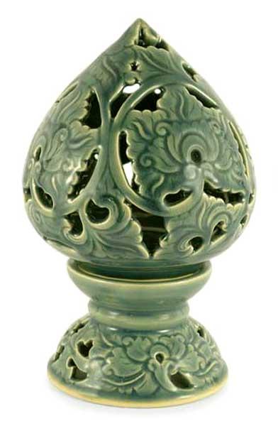 Celadon ceramic candleholder