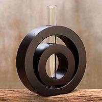 Mango wood vase, 'Successive Circles' - Hand Crafted Modern Mango Wood Vase
