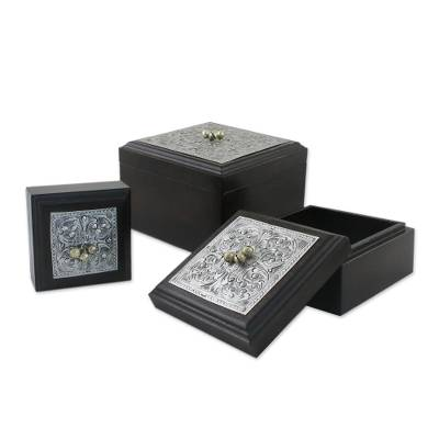 Nickel and wood boxes (Set of 3)