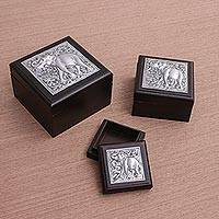 Nickel and wood box, 'Elephant Forest' (set of 3) - Thai Nickel and Wood Box