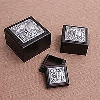 Nickel and wood box,