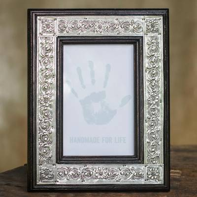 Nickel and wood picture frame, 'Serpentine' (4x6) - Repousse Wood Photo Frame (4x6)