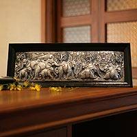 Aluminum repousse panel, 'Elephant Migration'