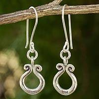 Sterling silver dangle earrings, 'Lucky Blossoms' - Sterling silver dangle earrings