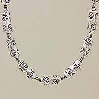 Silver chain necklace, 'Bravery' - Silver chain necklace