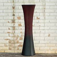 Mango wood vase, 'Dark to Light' - Unique Modern Mango Wood Vase