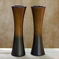 Mango wood vases, 'Thai Trumpets' (pair) - Handmade Mango Wood Vases (Pair)