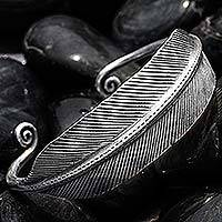 Silver cuff bracelet, 'Deco Feather' - Handmade Hill Tribe Silver Cuff Bracelet