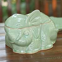 Celadon ceramic container, 'Elephant's Secret' - Celadon ceramic container