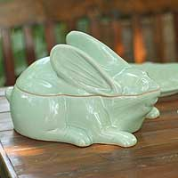 Celadon ceramic container, 'Bunny Rabbit's Secret' - Celadon ceramic container