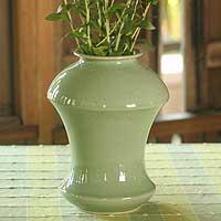 Celadon ceramic vase, 'Jade Ginger' - Celadon ceramic vase