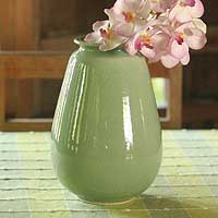 Celadon ceramic vase, 'Magic' - Green Celadon Ceramic Vase