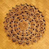 Teak relief panel, 'Radiant Flowers' - Floral Wood Relief Panel