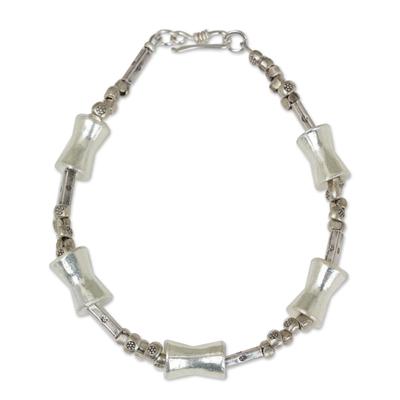 Silver beaded bracelet, 'Sterling Integrity' - Unique Hill Tribe Silver Bracelet