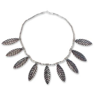 Silver waterfall necklace, 'Lucky Leaves' - Silver waterfall necklace