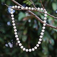 Pearl and garnet strand necklace, 'Pure Love' - Thai Bridal Pearl Strand Necklace